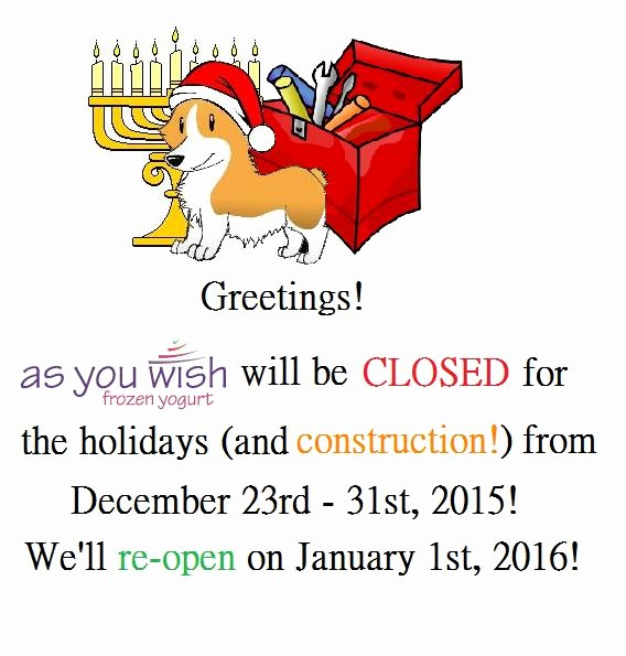 Closed for the Holidays Sign Lovely Holiday and Construction Closure 2015