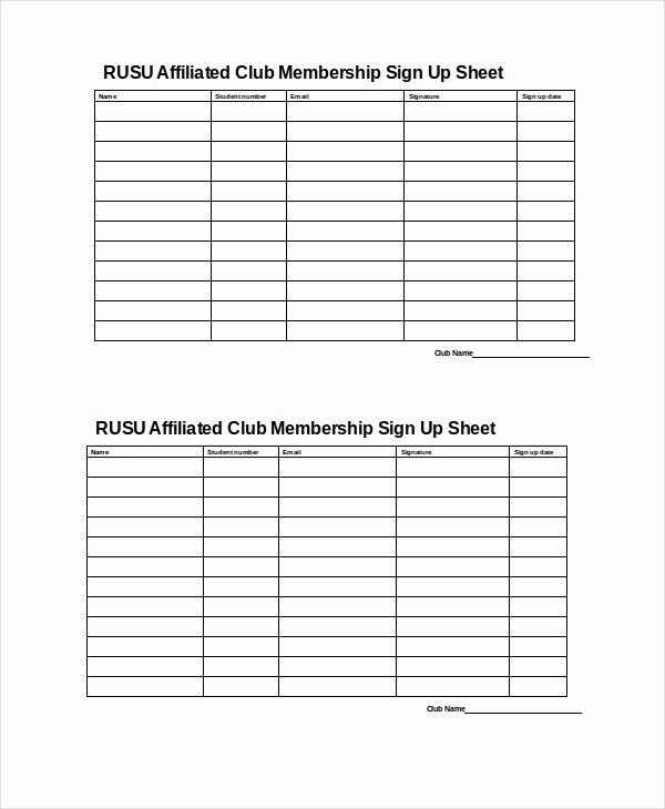 Club Sign In Sheet Template Awesome Sign Up Sheet 16 Free Pdf Word Documents Download