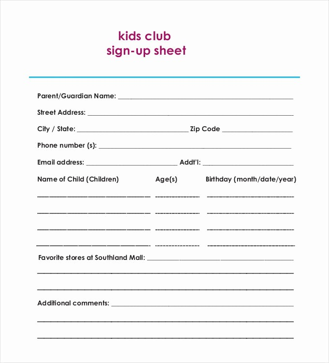 Club Sign In Sheet Template Fresh Sign Up Sheets 58 Free Word Excel Pdf Documents