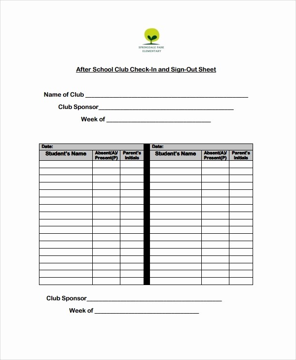 Club Sign In Sheet Template Inspirational 10 School Sign Out Sheet Templates