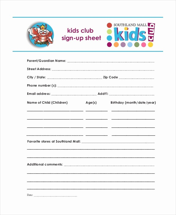 Club Sign In Sheet Template New Sign Up Sheet 16 Free Pdf Word Documents Download