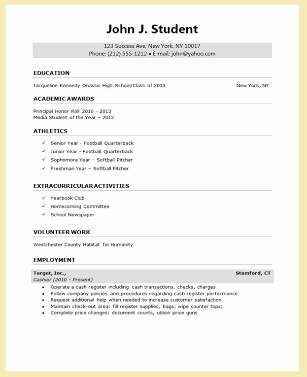 College Application Resume Template Word Beautiful Sample Resume for College Application