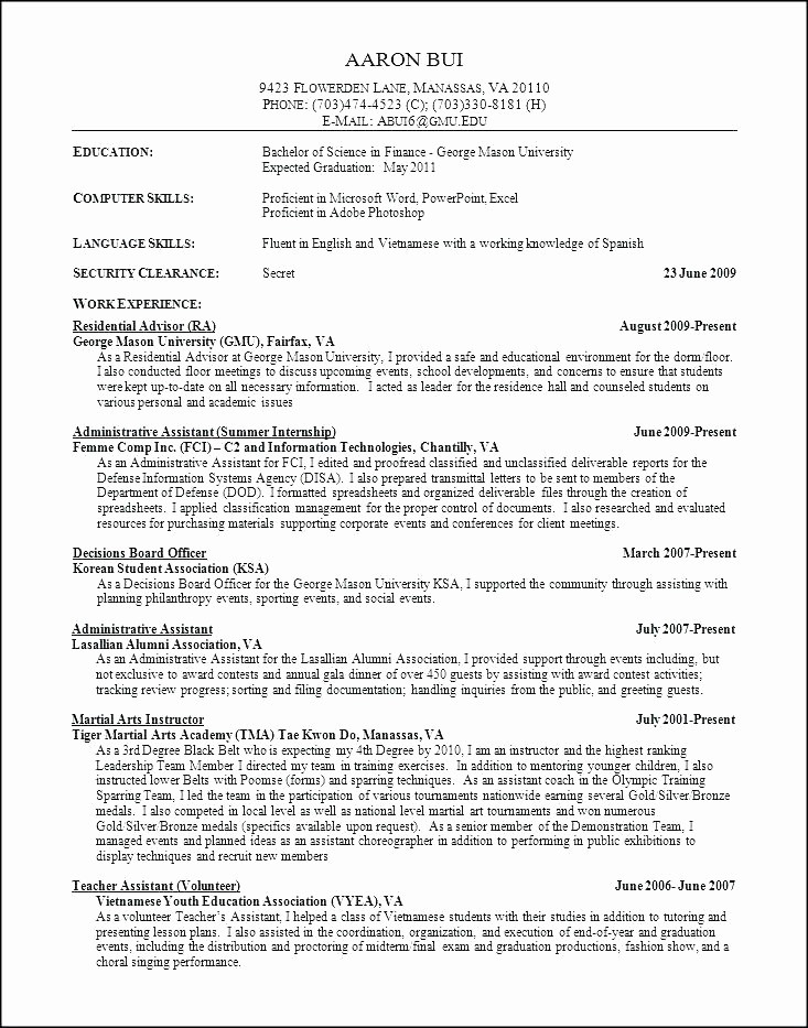 College Application Resume Template Word Fresh College Resume Template Word – Amere