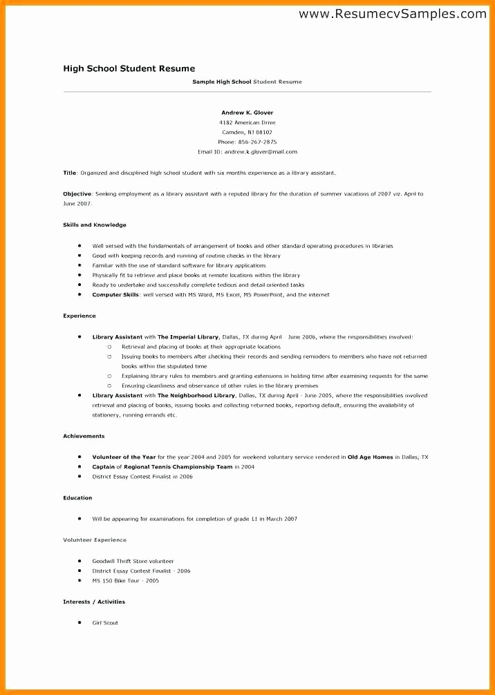 College Application Resume Template Word Inspirational Sample High School Resume Templates In Word for Teachers