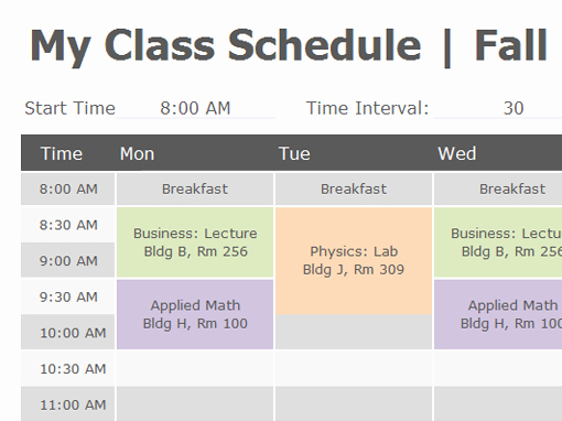 College Class Schedule Template Printable Beautiful Class Schedule Fice Templates