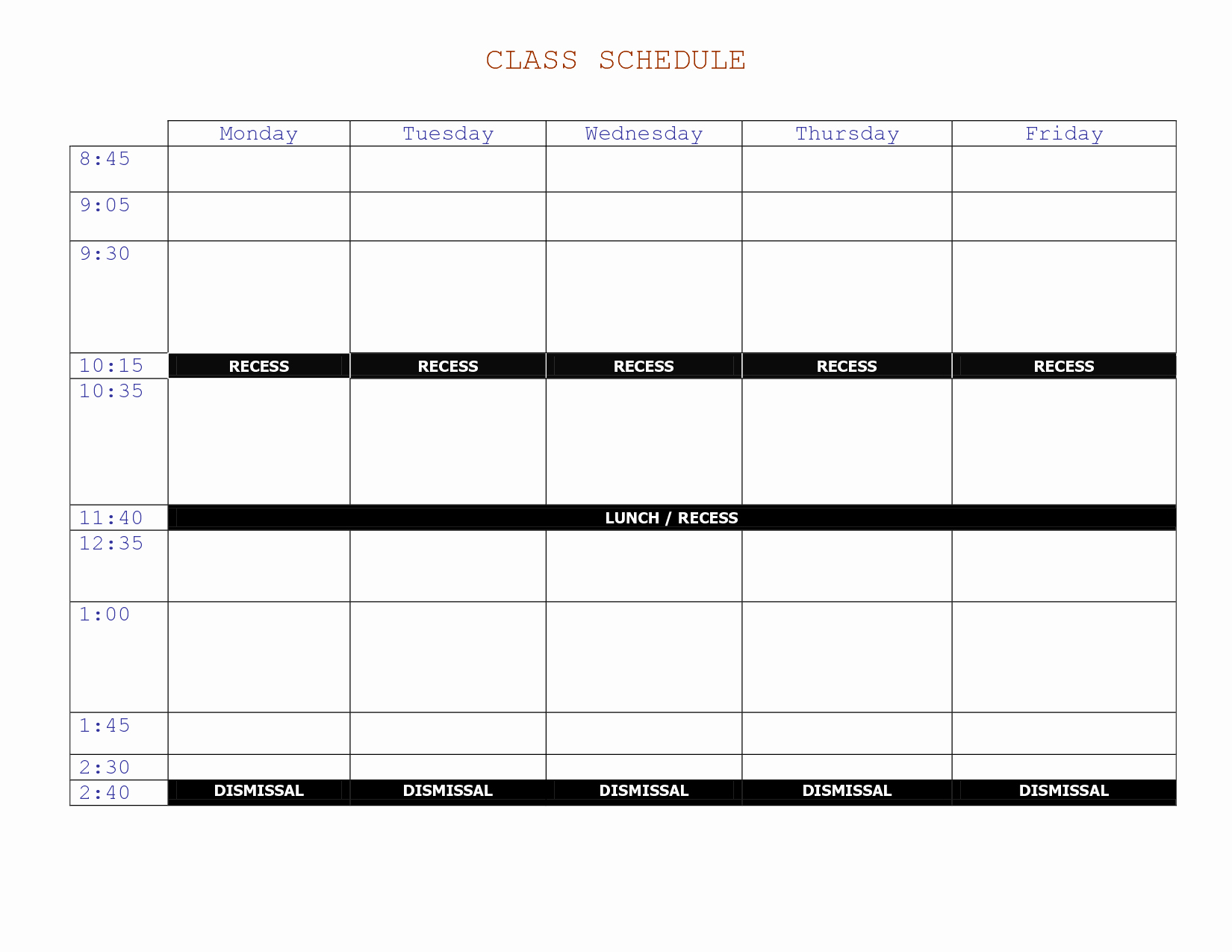 College Class Schedule Template Printable Elegant 7 Best Of Printable Class Schedule Maker Class