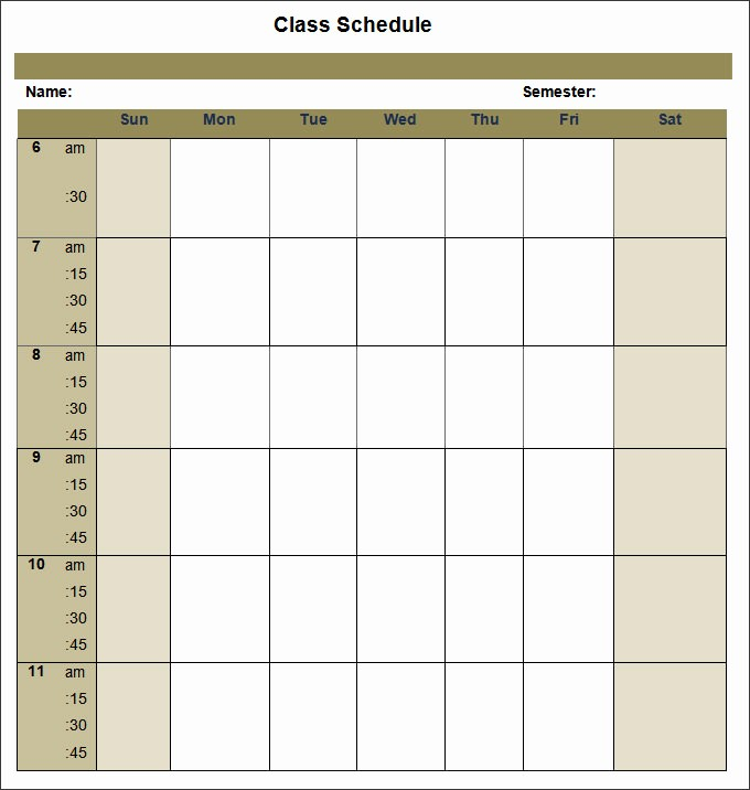 College Class Schedule Template Printable Elegant College Schedule Templates – 12 Free Word Excel Pdf