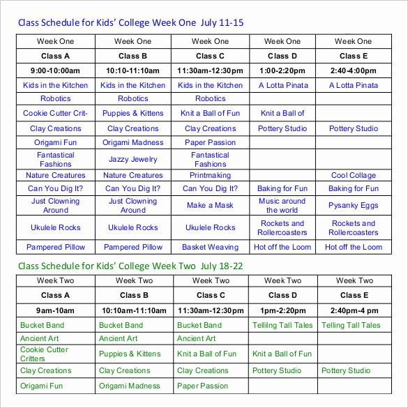 College Class Schedule Template Printable Elegant Munity Adult Outreach Class Schedule Other