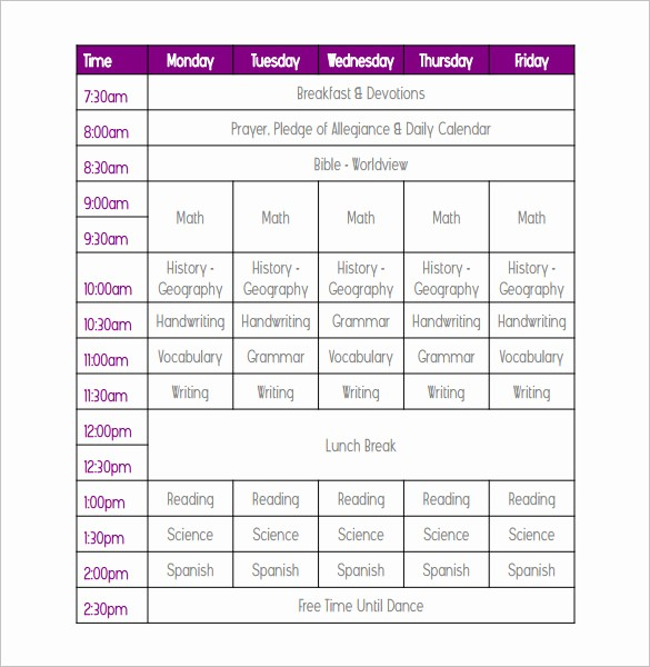 College Class Schedule Template Printable Elegant Weekly School Schedule Template 9 Free Word Excel