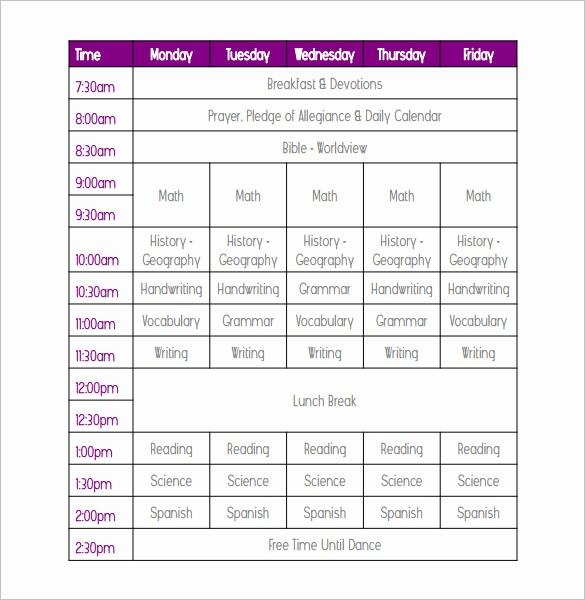 College Class Schedule Template Printable Elegant Weekly School Schedule Template 9 Free Word Excel