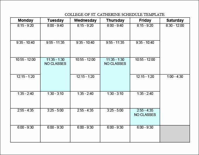 College Class Schedule Template Printable Inspirational College Schedule Templates – 12 Free Word Excel Pdf