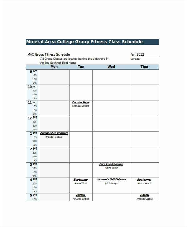 College Class Schedule Template Printable Inspirational Excel Class Schedule Templates 8 Free Word Excel Pdf