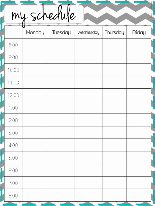 College Class Schedule Template Printable Lovely Weekly Schedule On Pinterest