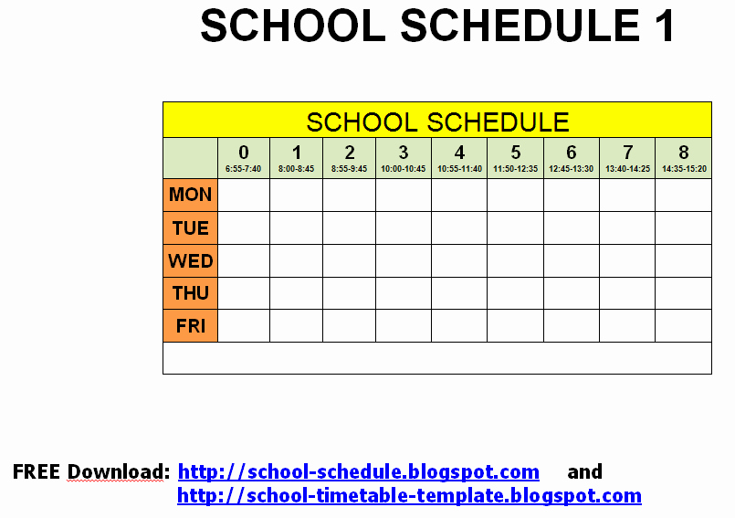 College Class Schedule Template Printable Luxury 6 Best Of Free Printable Class Schedule Template