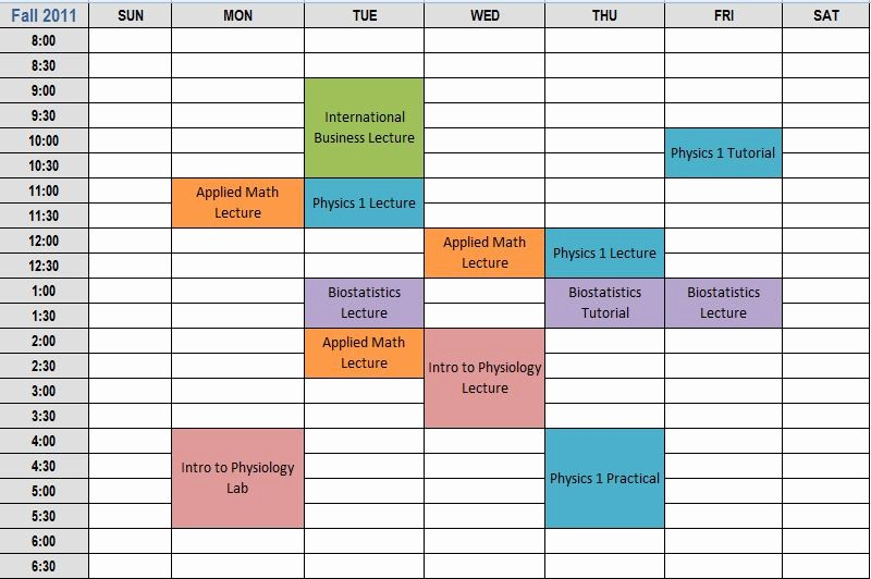 College Class Schedule Template Printable Luxury 7 Best Of Printable Class Schedule Maker Class