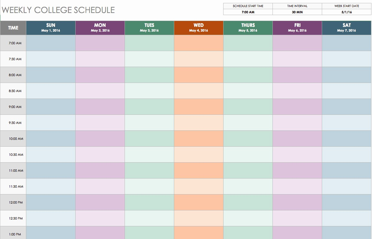 College Class Schedule Template Printable New Weekly Class Schedule Maker
