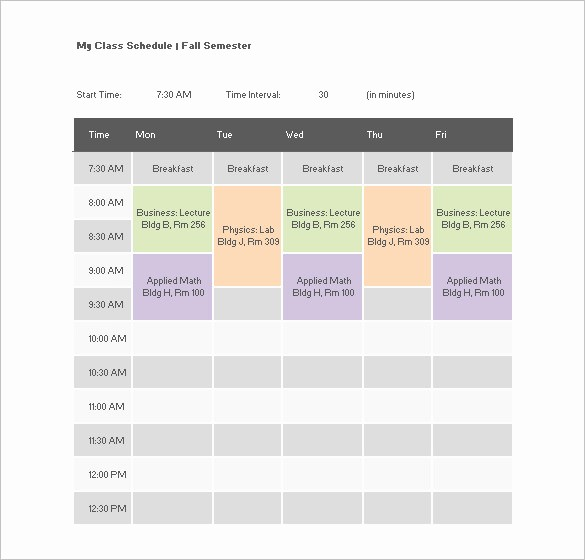 College Class Schedule Template Printable Unique Class Schedule Template to Pin On Pinterest