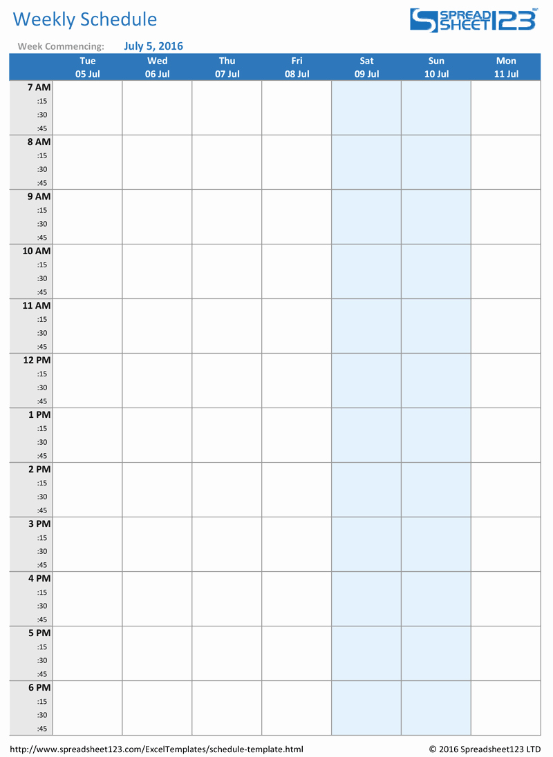 College Schedule Template Google Docs Elegant Printable Weekly and Biweekly Schedule Templates for Excel