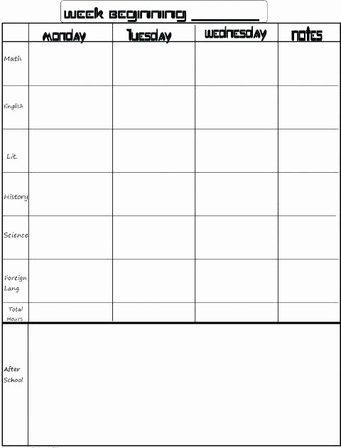 College Schedule Template Google Docs Fresh Student assignment Planner Template Homework Schedule
