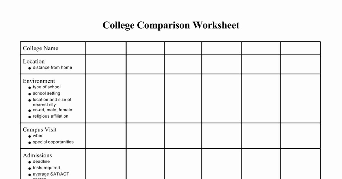 College Schedule Template Google Docs Lovely 6 College Parison Worksheets