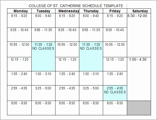 College Schedule Template Google Docs Unique College Schedule College Class Schedule Template Wcc Usa