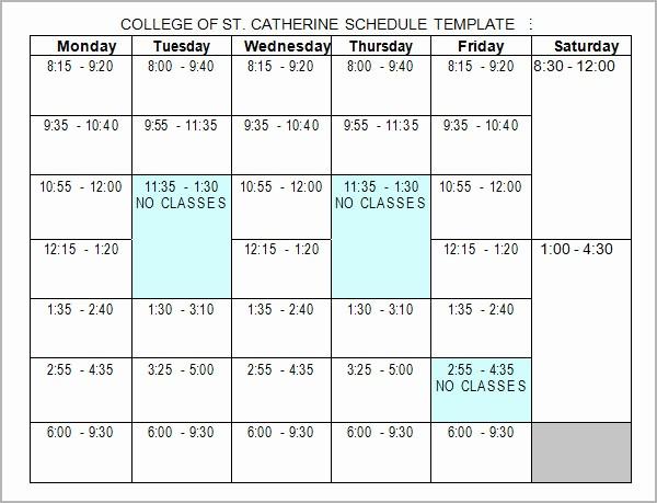 College Schedule Template Google Docs Unique College Schedule College Class Schedule Template Wcc Usa