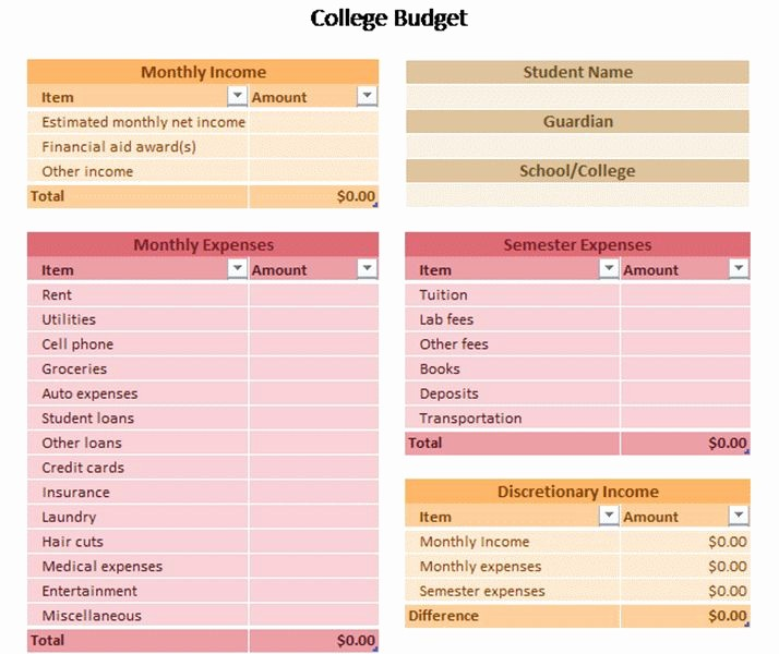 College Student Monthly Budget Example Lovely Sample Bud Worksheet for High School Students Note