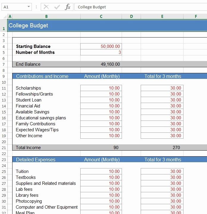 College Student Monthly Budget Example Luxury Download Free Excel Examples Downloadexceltemplate