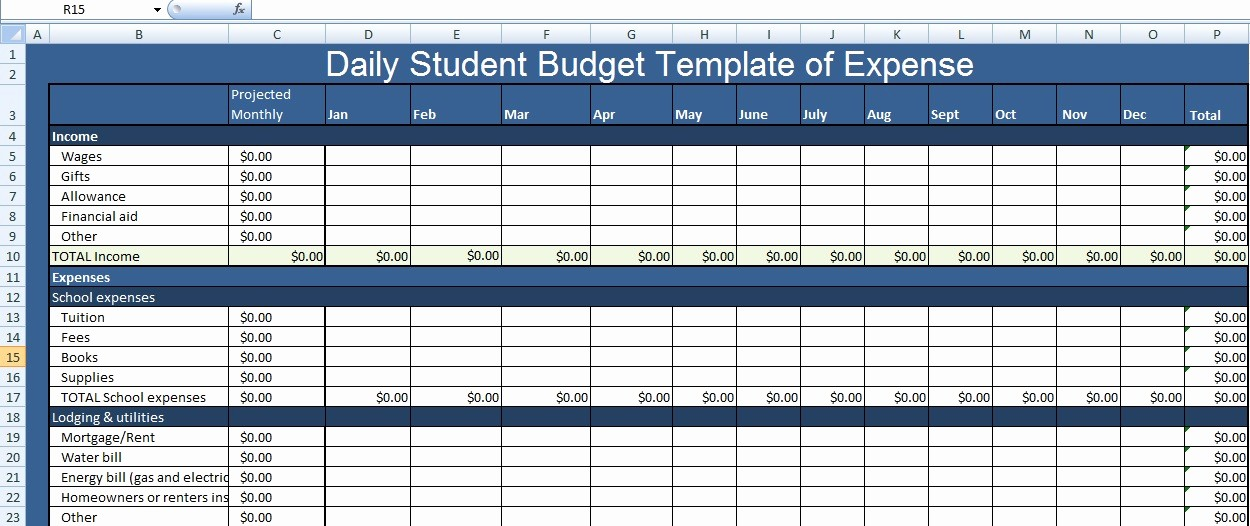 College Student Monthly Budget Example New Daily Student Bud Template Of Expense Xls Free Excel