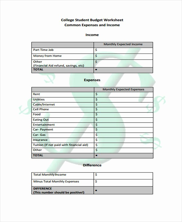 College Student Monthly Budget Example Unique Student Bud Templates 9 Free Pdf format Download