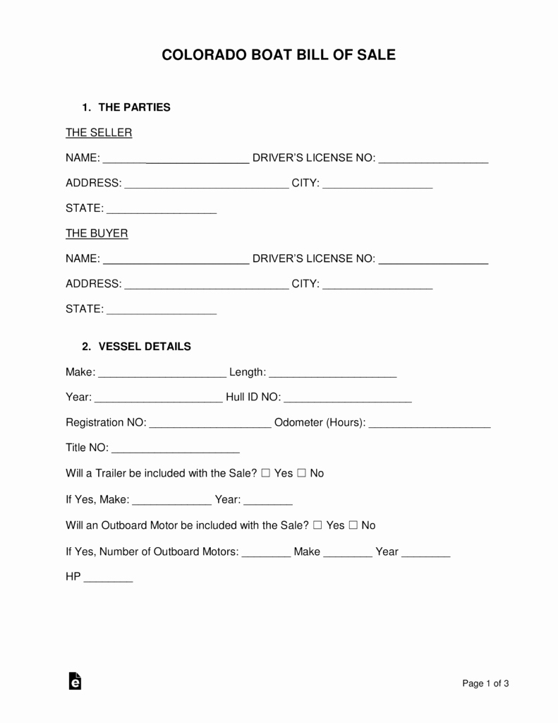 Colorado Auto Bill Of Sale Beautiful Free Colorado Boat Bill Of Sale form Word Pdf