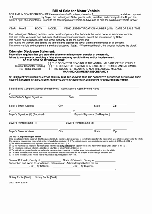 Colorado Auto Bill Of Sale Fresh form Dr 2173 Pn Bill Sale for Motor Vehicle with