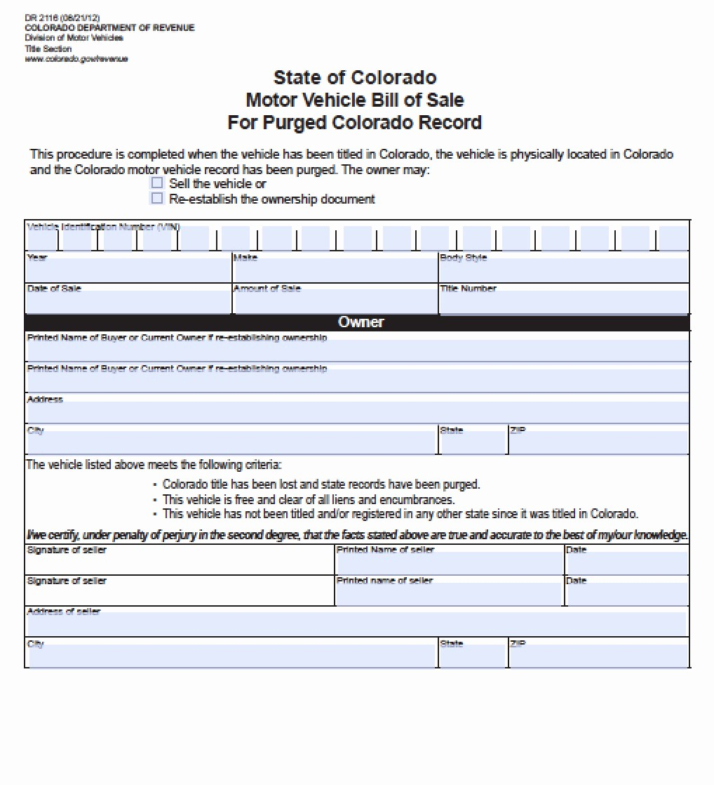 Colorado Auto Bill Of Sale New Free Colorado Vehicle Bill Of Sale for Purged Record