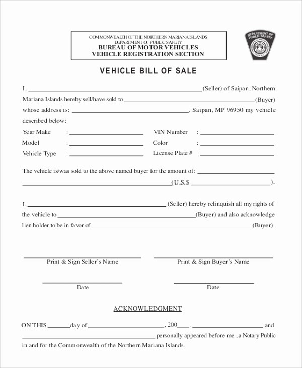 Commercial Truck Bill Of Sale Inspirational Sample Bill Of Sale form for Vehicle 8 Free Documents