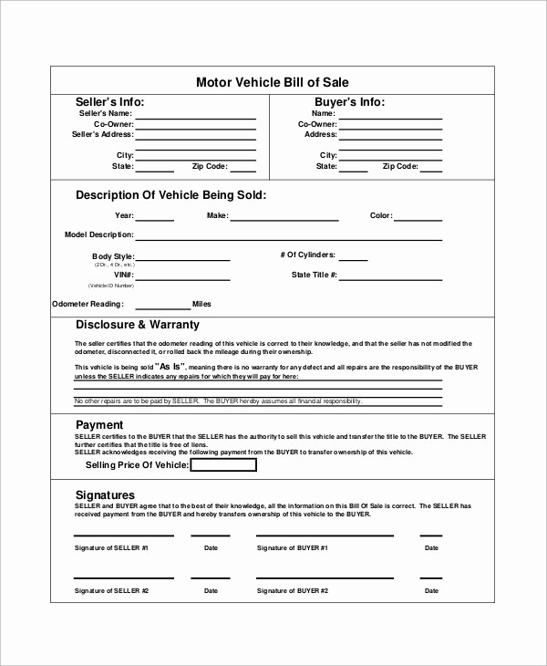 Commercial Truck Bill Of Sale New 8 Bill Of Sale Samples Examples Templates