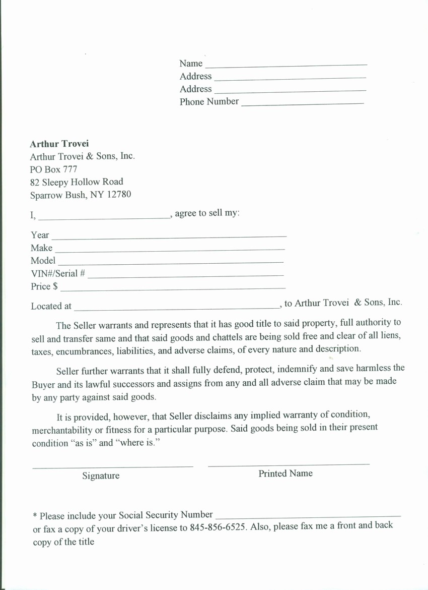 Commercial Truck Bill Of Sale New Free Printable Tractor Bill Of Sale form Generic