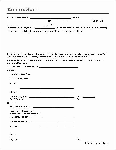 Commercial Truck Bill Of Sale New Printable Sample Bill Sale form form