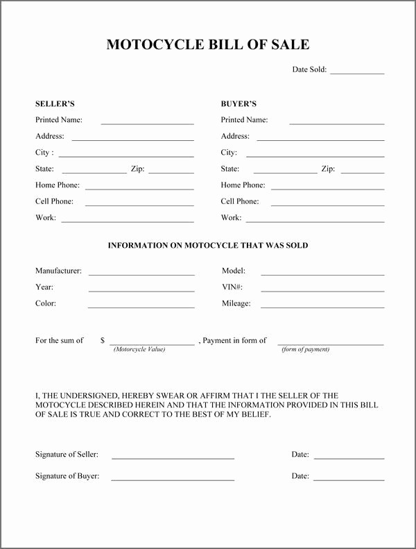 Commercial Vehicle Bill Of Sale Beautiful Printable Sample Bill Sale Pdf form