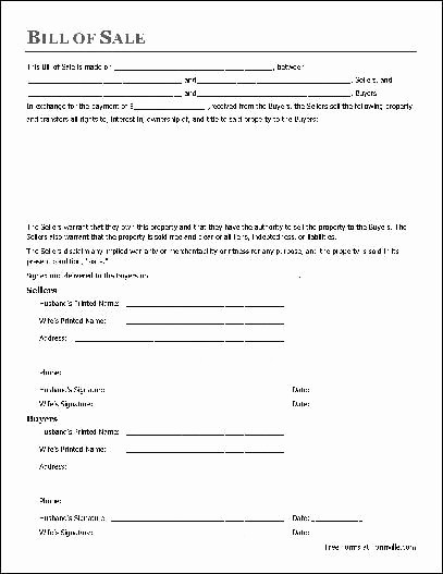 Commercial Vehicle Bill Of Sale Best Of Printable Sample Bill Sale Pdf form