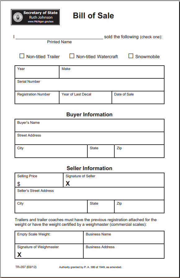 Commercial Vehicle Bill Of Sale Fresh Free Michigan Bill Of Sale form Download Pdf
