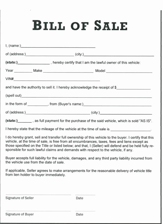 Commercial Vehicle Bill Of Sale Fresh Printable Sample Tractor Bill Of Sale form