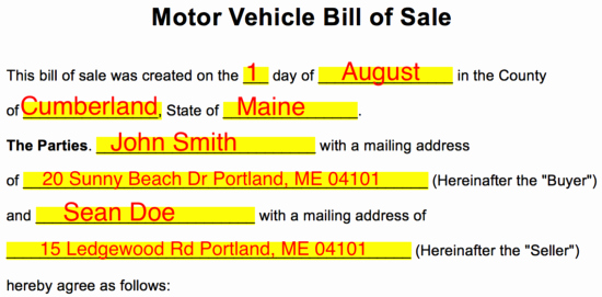 Commercial Vehicle Bill Of Sale Inspirational Free Bill Of Sale forms Pdf Word