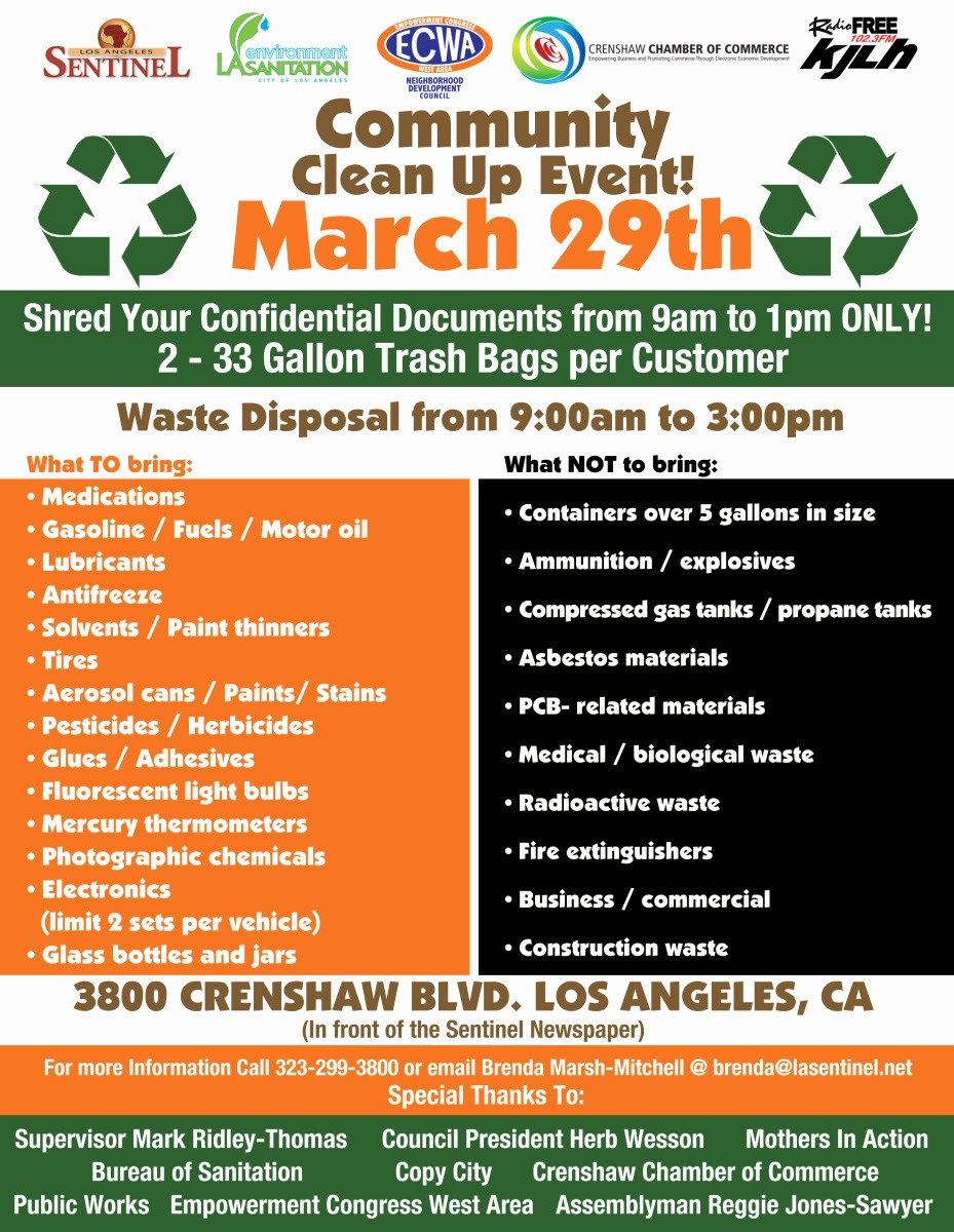 Community Clean Up Flyer Template Awesome Heather Lee Presha S Page Leimert Park Beat