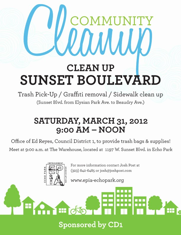 Community Clean Up Flyer Template Elegant Echo Park Neighborhood Cleanup Along Sunset Boulevard On