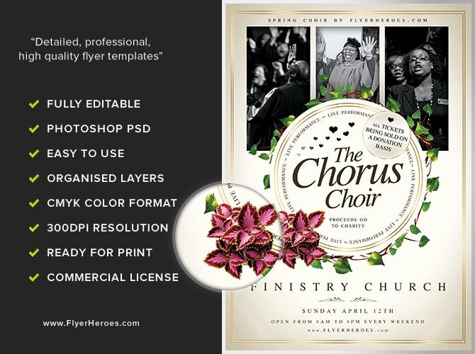 Community Clean Up Flyer Template Fresh Chorus Choir Flyer Template Flyerheroes