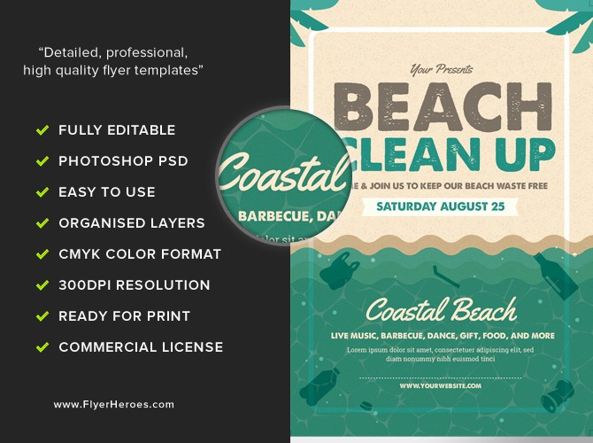 beach clean flyer template