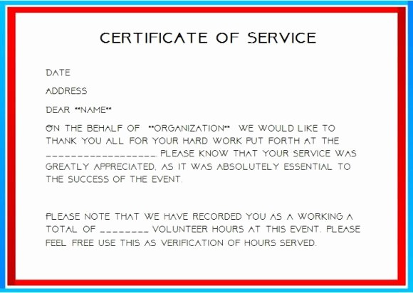 Community Service Certificate Template Free Beautiful 24 Certificate Of Service Templates for Employees formats