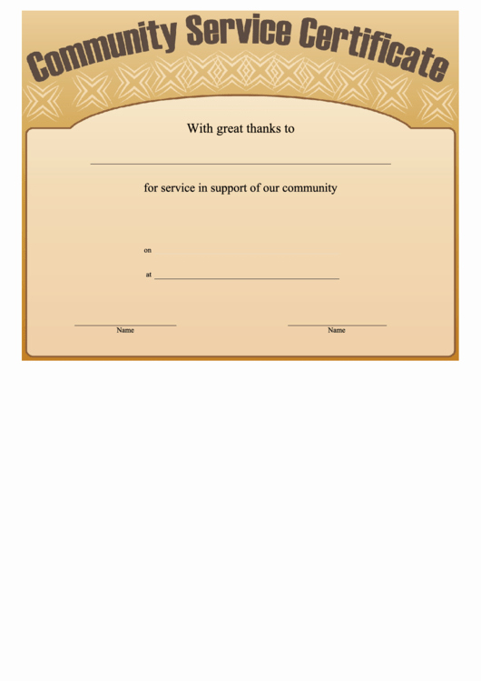 Community Service Certificate Template Free Beautiful Munity Service Certificate Printable Pdf