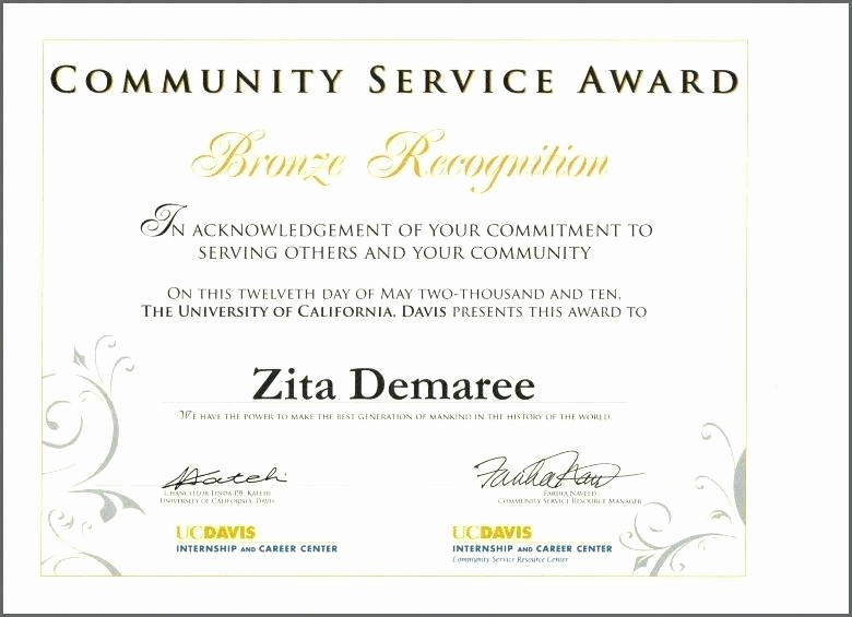 Community Service Certificate Template Free Best Of Sample Certificate Appreciation for Munity Service
