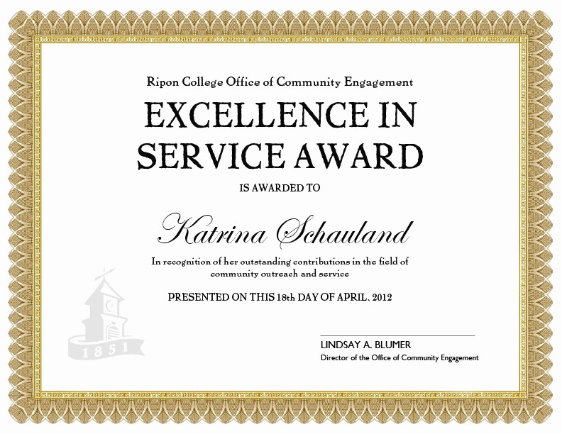 Community Service Certificate Template Free Best Of Service Award Certificate Template Munity Service Award